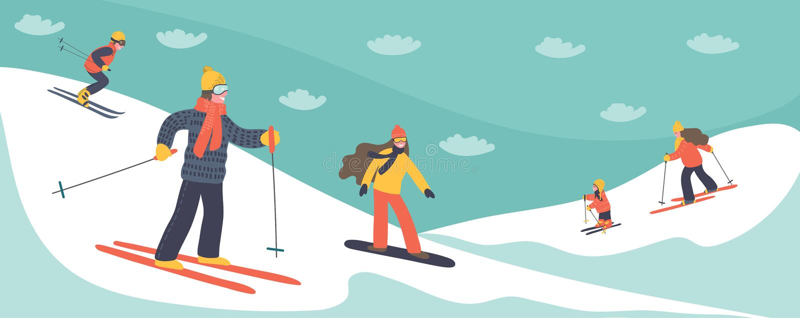 Leute, die in den Bergen Ski fahren lizenzfreie abbildung