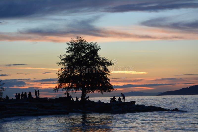 Leute, die den Sonnenuntergang genießen lizenzfreie stockfotos