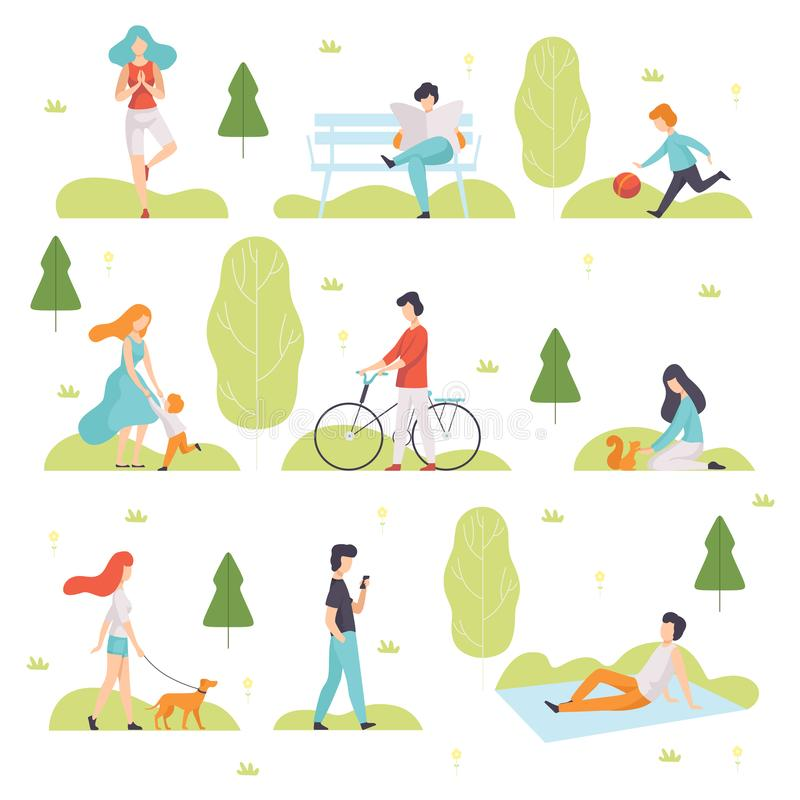 Leute, die, den Sport tuend gehen und entspannen sich im Park, in Männern und in Frauen, die Natur-Freien, Freizeit-Tätigkeiten i vektor abbildung