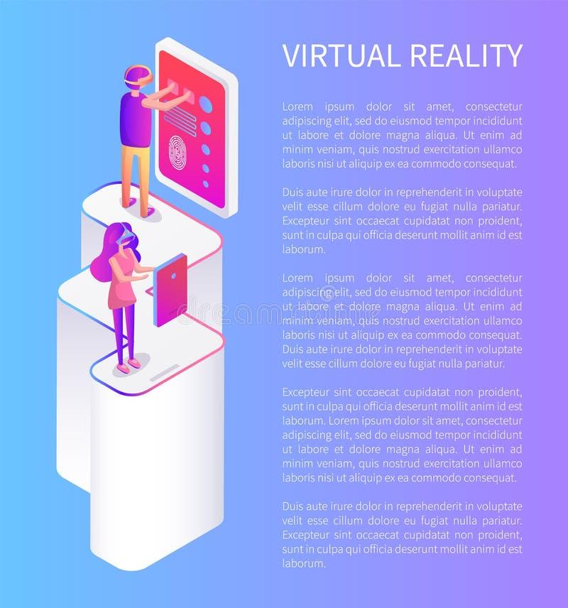 Leute, die in der Karikatur der Glas-virtuellen Realität spielen lizenzfreie abbildung