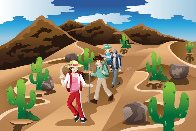 Leute, die in der Wüste wandern vektor abbildung