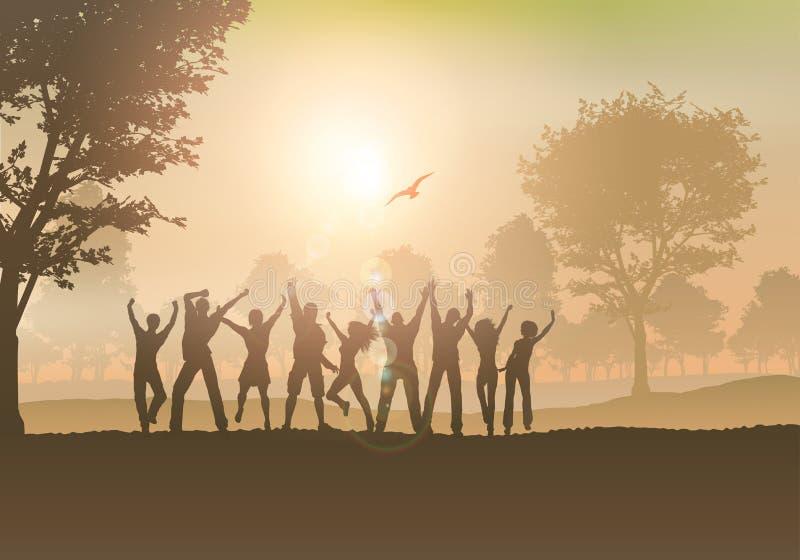 Leute, die in die Landschaft tanzen lizenzfreie abbildung