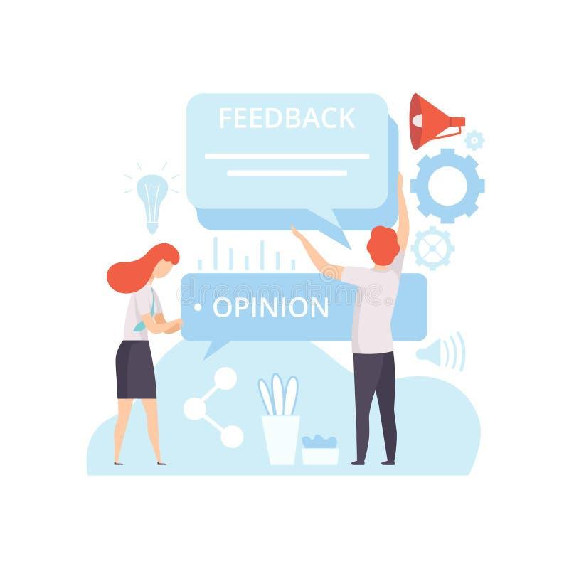 Leute, die Digital-Inhalt, Kunden-Service-Feedback, Technologie-Prozess der Softwareentwicklung, Social Media schaffen lizenzfreie abbildung