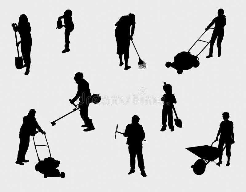 Leute, die draußen Schattenbilder bearbeiten stock abbildung