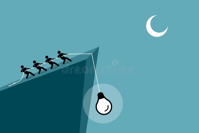 Leute, die eine Idee oben von die Klippe durch die Anwendung des Seils unten fallen ziehen vektor abbildung