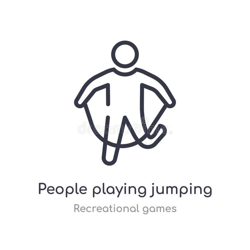 Leute, die Entwurfsikone des springenden Seils spielen lokalisierte Linie Vektorillustration von der Unterhaltungsspielsammlung e lizenzfreie abbildung