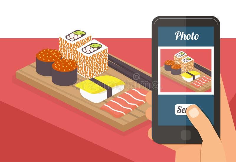 Leute, die Foto ihres Lebensmittels machen stock abbildung