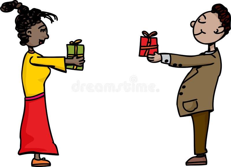 Leute, die Geschenke austauschen lizenzfreie abbildung