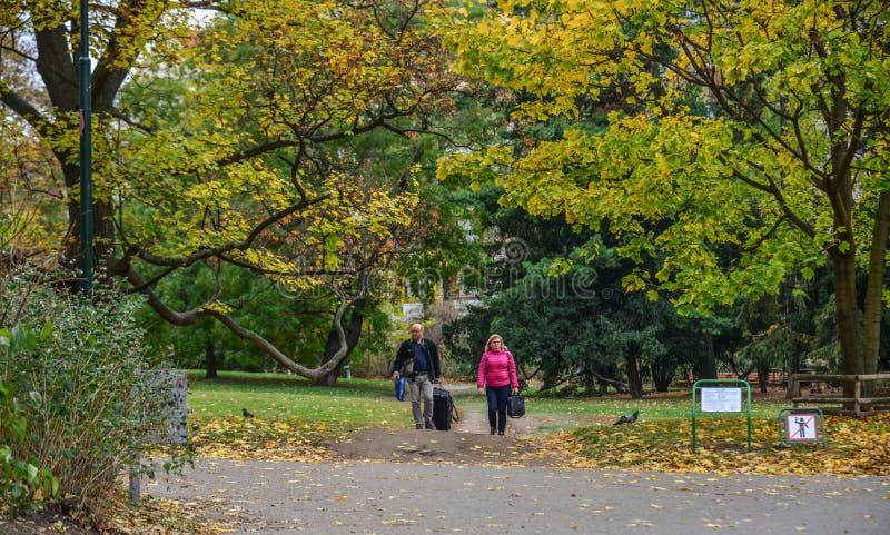 Leute, die am Herbstpark gehen lizenzfreie stockfotos