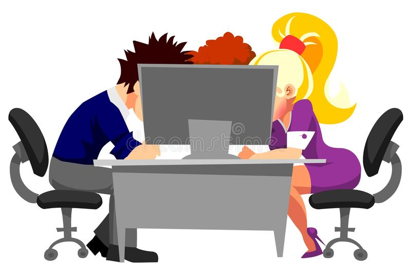Leute, die im Büro am Computer arbeiten stock abbildung