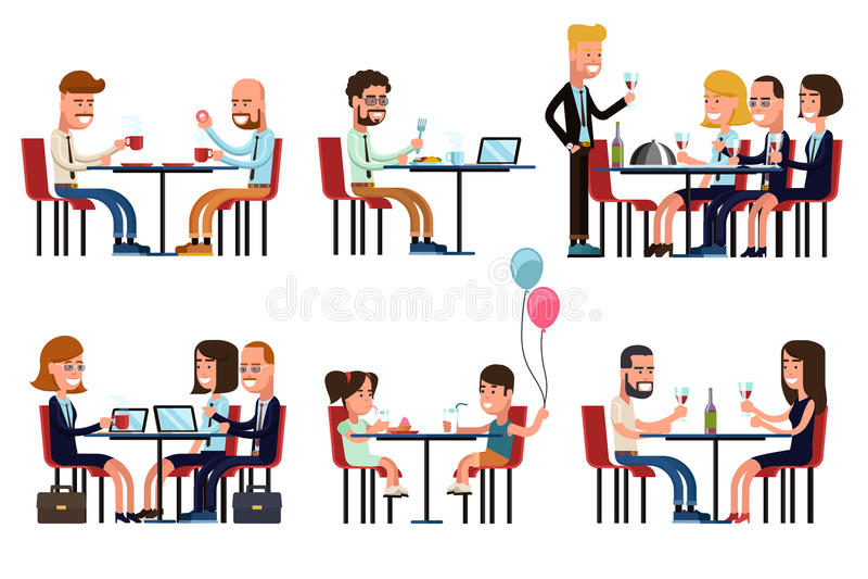 Leute, die im Restaurant oder im Kaffee essen und sprechen stock abbildung