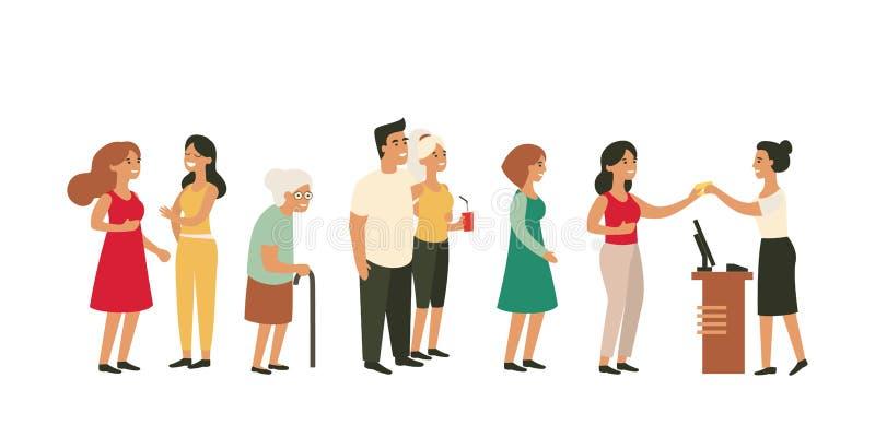 Leute, die in lange Reihe mit alter Frau warten stock abbildung