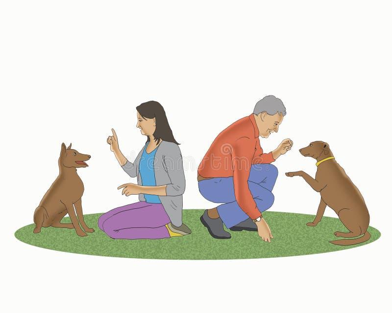 Leute, die mit Hundekarikatur spielen vektor abbildung