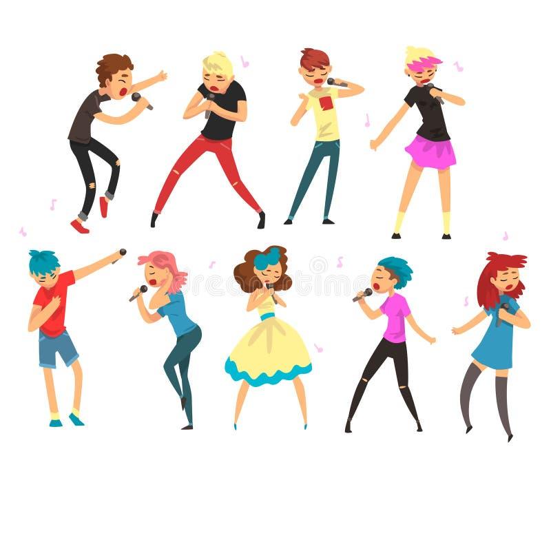 Leute, die mit Mikrophonen Satz, Mann und weibliche emotionale Sänger durchführen am Stadiumsvektor Illustratio singen vektor abbildung