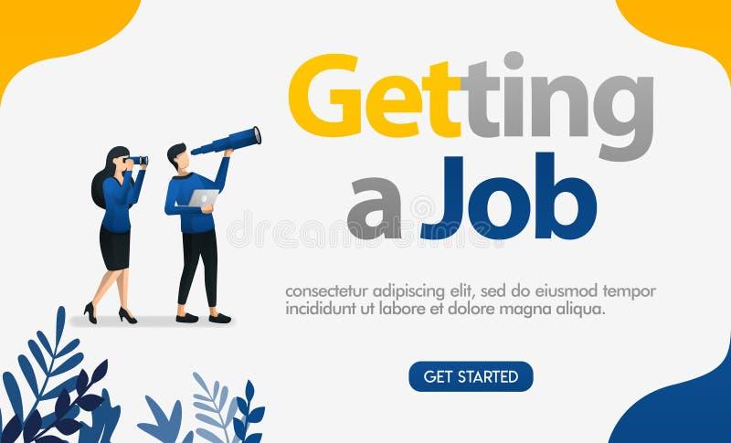 Leute, die nach Arbeit suchen, indem sie die betrachten Buchstaben, erhalten Jobs, Konzeptvektor ilustration f?r kann die Landung vektor abbildung