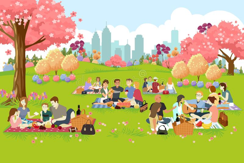 Leute, die Picknick am Park während des Frühlinges haben vektor abbildung