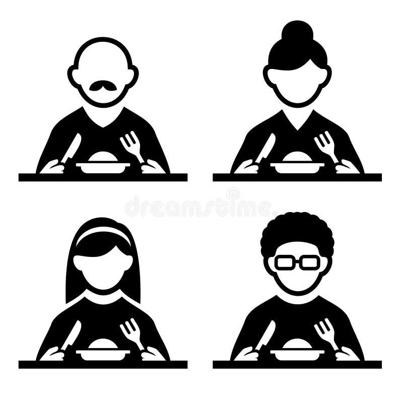 Leute, die Probieren-Lebensmittel-Piktogramm-Ikonen-Satz essen Vektor stock abbildung