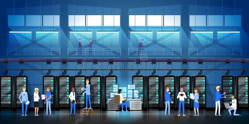 Leute, die Rechenzentrum-Raum-Hosting-Server-Computer-Überwachungs-Informations-Datenbank-in der flachen Vektor-Illustration arbe lizenzfreie abbildung