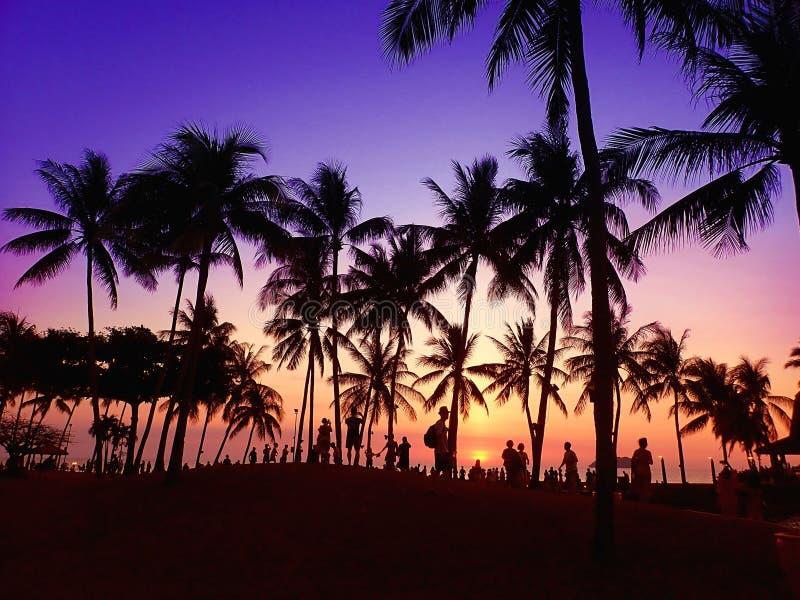 Leute, die die schöne Sonnenuntergangansicht vertretend stehen lizenzfreie stockbilder