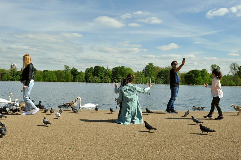 Leute, die selfies in Hyde Park, London, England nehmen lizenzfreie stockfotos