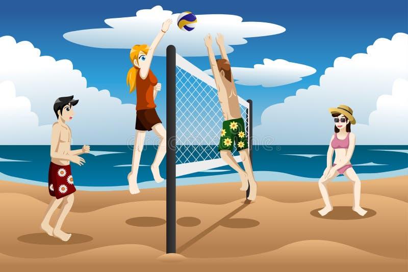 Leute, die Strandvolleyball spielen lizenzfreie abbildung