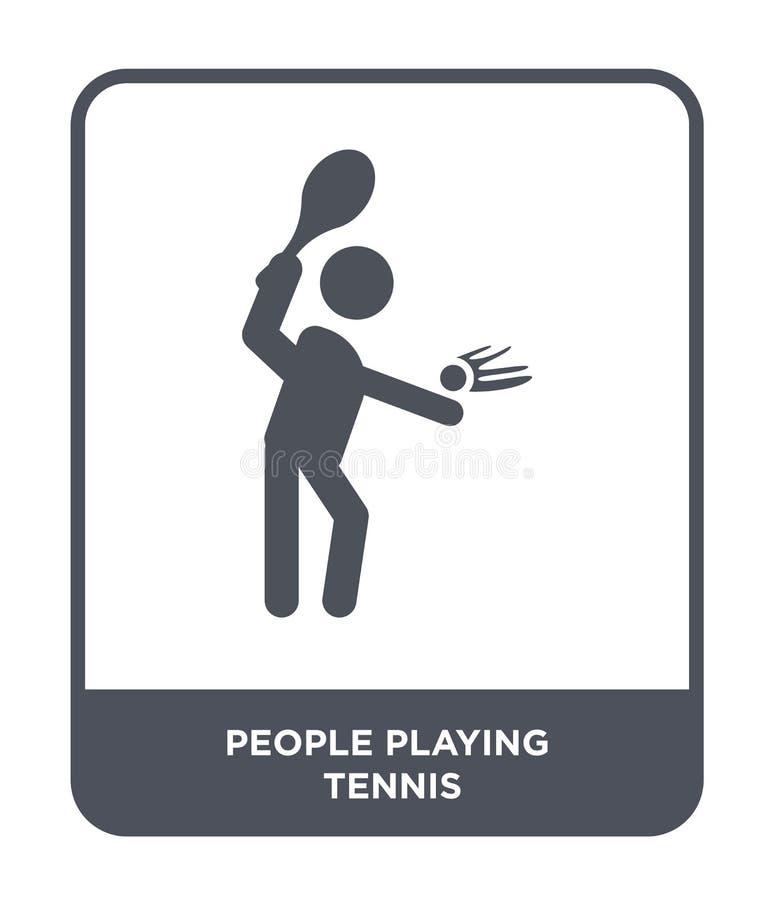 Leute, die Tennisikone in der modischen Entwurfsart spielen Leute, welche die Tennisikone lokalisiert auf weißem Hintergrund spie lizenzfreie abbildung