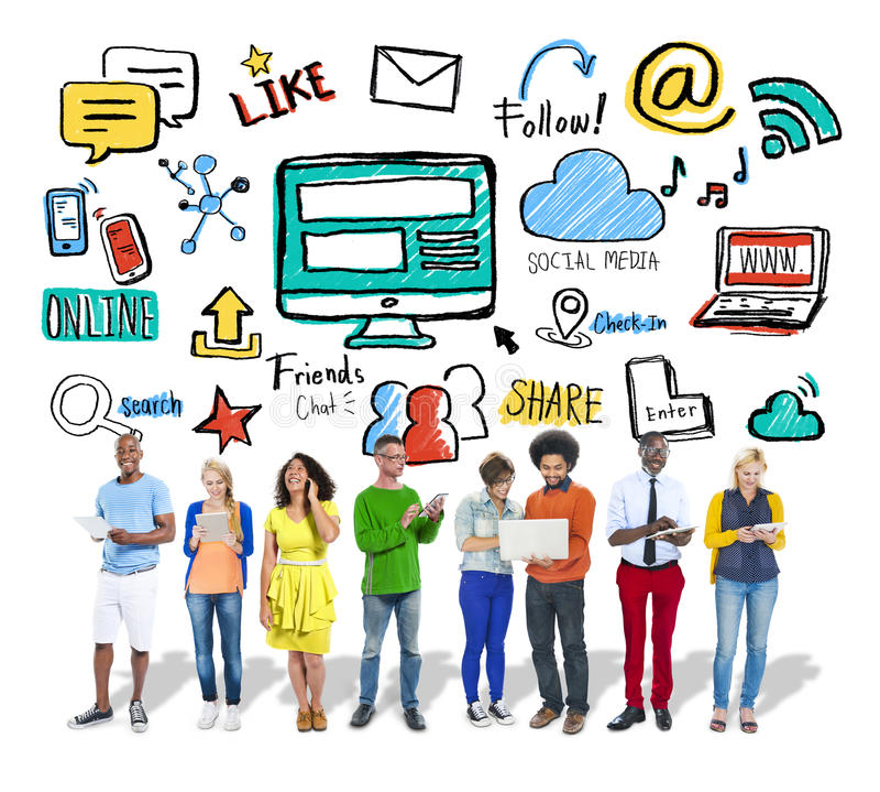 Leute-Digital-Gerät-globale Kommunikations-Social Media-Konzept stockfotografie