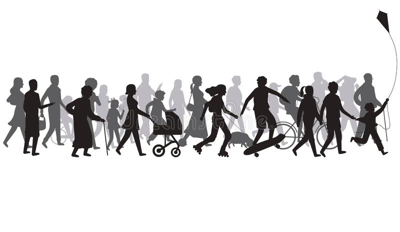 Leute drängen Schattenbild Gruppe der Person mit Schatten gehen Familie und Kinder, Paar zusammen, Fahrradvektor stock abbildung