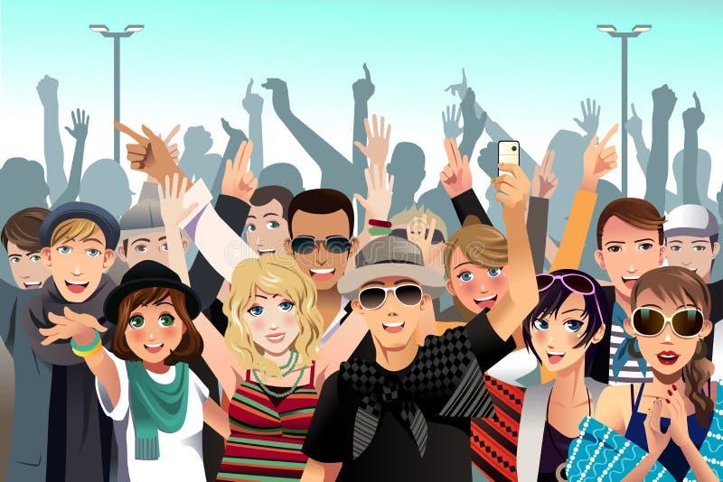 Leute in einem Konzert lizenzfreie abbildung