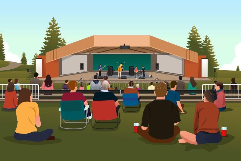 Leute in einem Konzert im Freien lizenzfreie abbildung