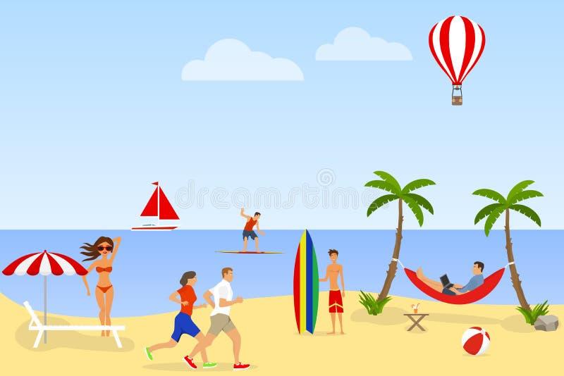 Leute entspannen sich und haben Spaß auf dem Strand Strandurlaubkonzept Sandy-Strand und tropischer Garten vektor abbildung