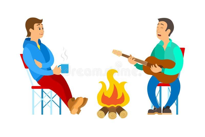 Leute-entspannendes im Freien, Männer nahe Feuer-Vektor vektor abbildung
