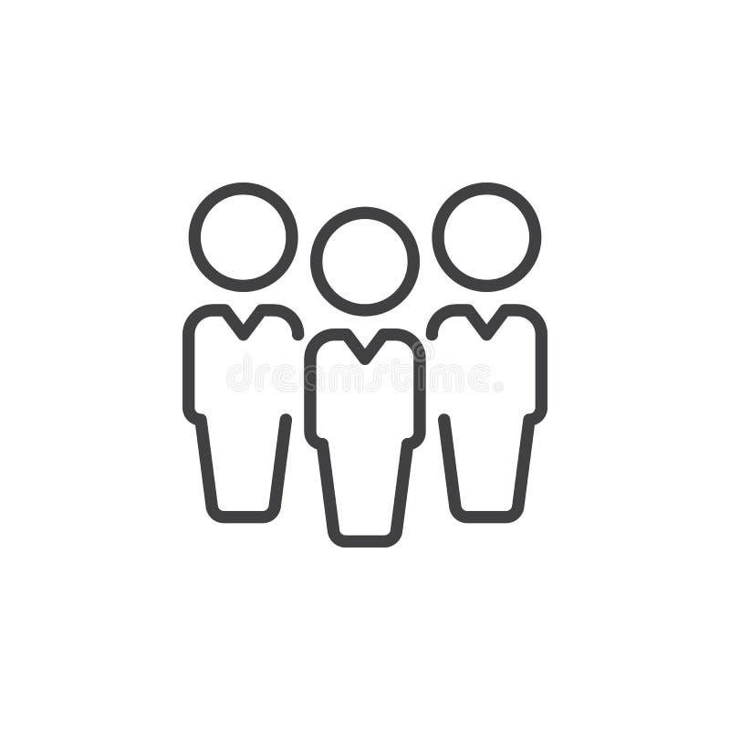 Leute, Führungslinie Ikone, Entwurfsvektorzeichen, lineares Artpiktogramm lokalisiert auf Weiß stock abbildung