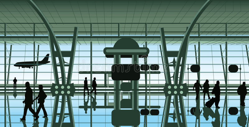 Leute am Flughafen vektor abbildung