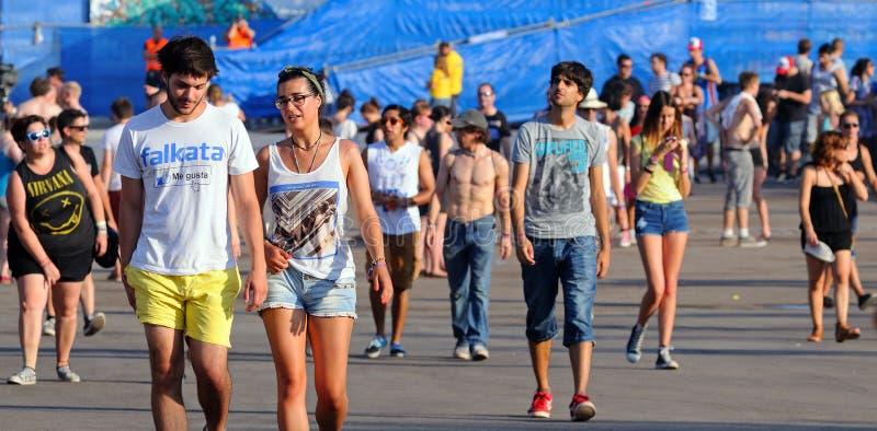 Leute an FLUNKEREI (Festival Internacional de Benicassim) Festival 2013 stockbilder