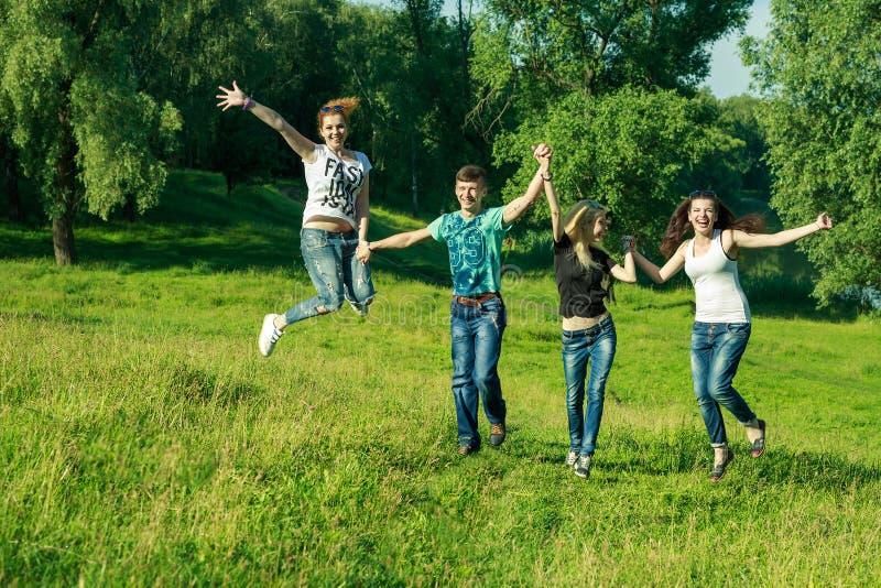Leute, Freiheit, Glück und Jugendkonzept Gruppe glückliche Freunde, welche die Sonnenbrille springt hohen Grashintergrund tragen stockbilder