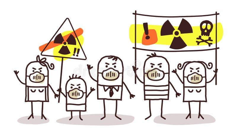 Leute gegen Atomenergie lizenzfreie abbildung