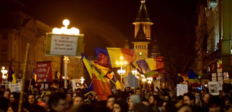 Leute gegen Korruption Timisoara Rumänien lizenzfreie stockfotografie