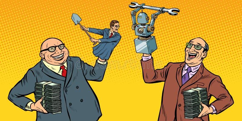 Leute gegen Roboter kämpfen für den Arbeitsplatz Manipulation von Politikern vektor abbildung