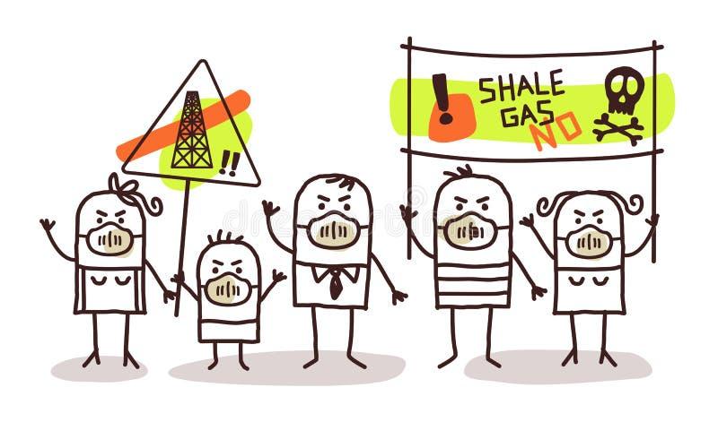 Leute gegen Schiefergasauszug lizenzfreie abbildung