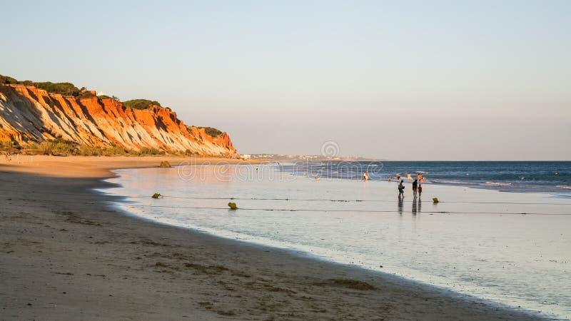 Leute gehen auf Strand Praia Falesia nahe Albufeira stockfotografie