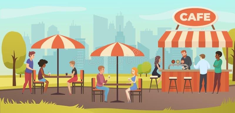 Leute-Getränk Coffe Vektor-Straßen-Café im im Freien lizenzfreie abbildung