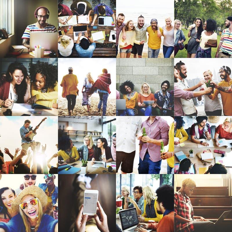 Leute-Glück-Partei-Spaß-spielerisches Konzept lizenzfreie stockfotografie