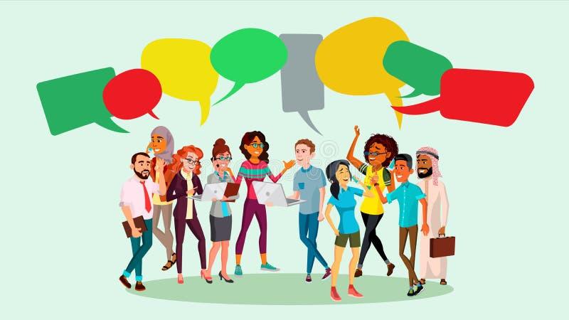 Leute-Gruppen-Chat-Vektor Wirtschaftlerdiskussion geistesstörung Unterhaltungskommunikation Mehr stellt in mein Portefeuille ein  stock abbildung