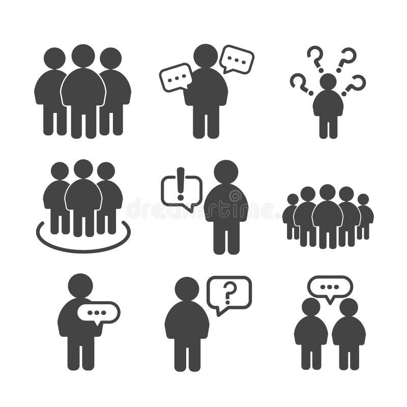 Leute gruppieren die Ikonen, die auf wei?em Hintergrund lokalisiert werden lizenzfreie abbildung
