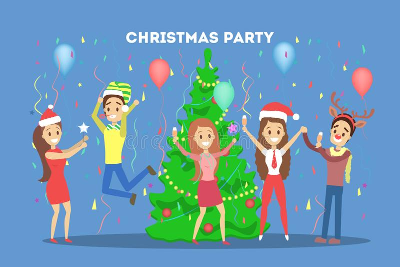 Leute haben Spaß auf dem Büroweihnachtsfest lizenzfreie abbildung