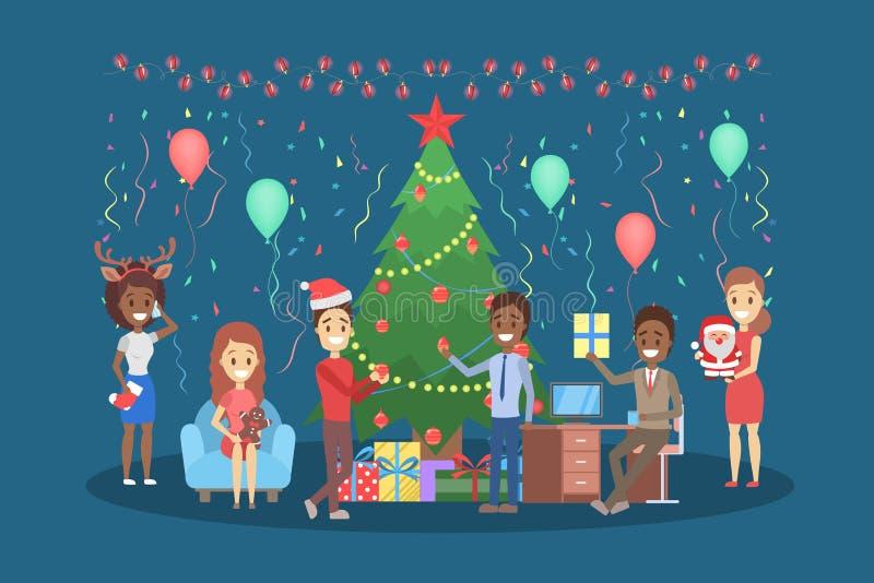 Leute haben Spaß auf dem Büroweihnachtsfest stock abbildung