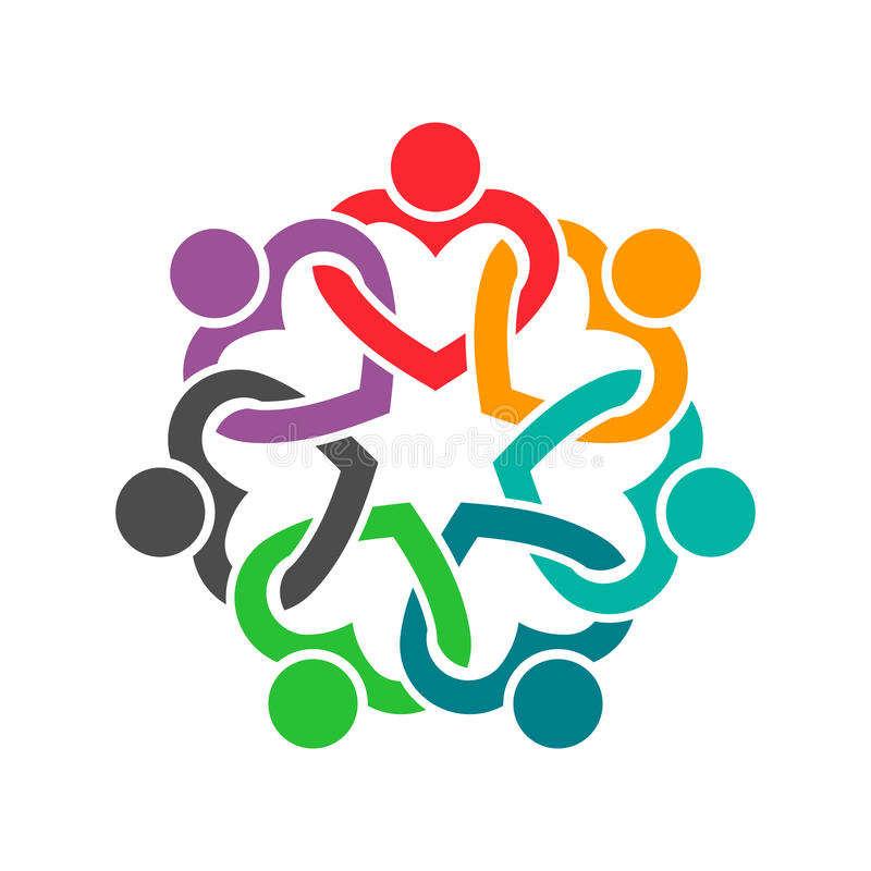 Leute Herz-in der kooperativen Teamwork-Illustration lizenzfreie abbildung