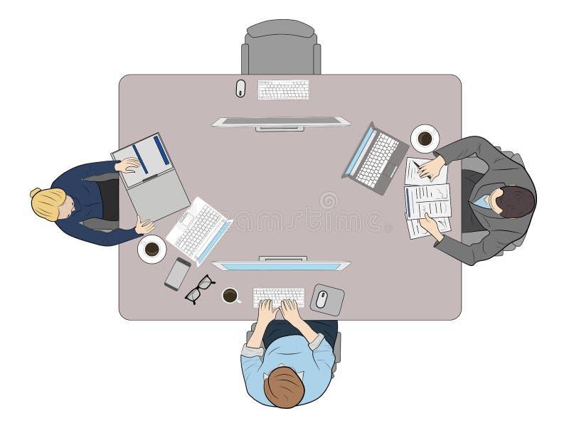 Leute hinter dem Arbeitsplatz, Draufsicht Arbeit am Computer Werkzeuge werden heraus auf dem Tisch verbreitet Auch im corel abgeh lizenzfreie abbildung