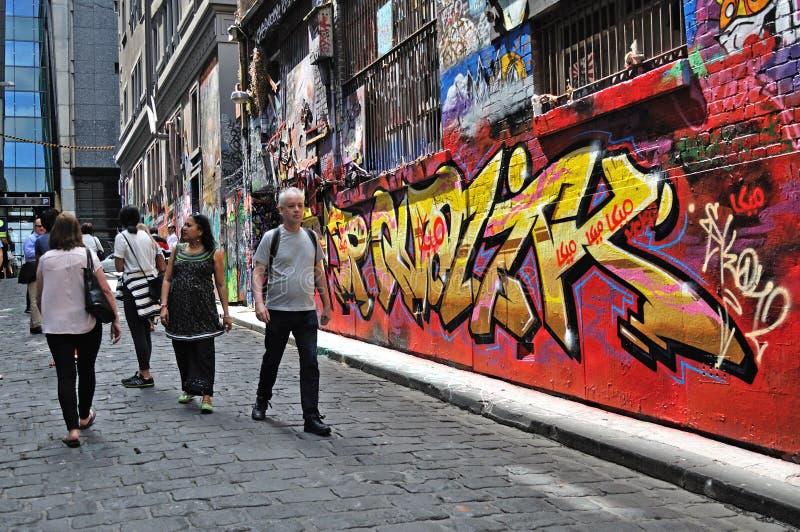 Leute am Hosier Lane, Melbourne stockfotos